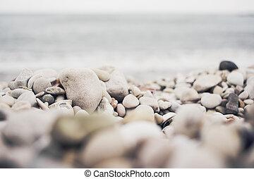 石, アドリア海, 小石ビーチ, 山