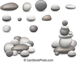 石, セット, 隔離された, 小石