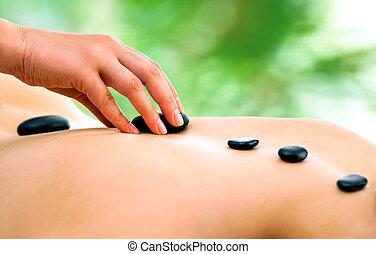 石, セラピスト, 暑い, massage., 手