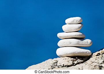 石, バランス, 山