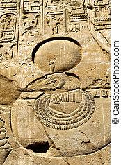 石, 古代, エジプト人, 壁, クローズアップ, 手ざわり, 象形文字