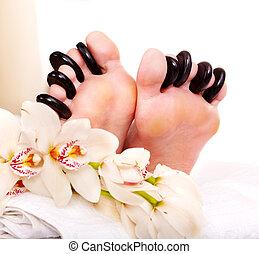 石, 女, 受け取ること, マッサージ, feet.