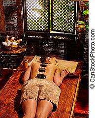 石, 女, ayurvedic, massage., 持つこと