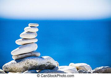 石, 小石, 上に, 青, バランス, 海の 積み重ね, croatia.