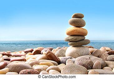 石, 小石, 白, 山