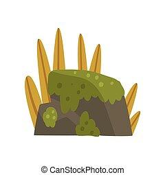 石, 山, 自然, イラスト, 要素, 森林, ベクトル, デザイン, 岩, 風景, こけ