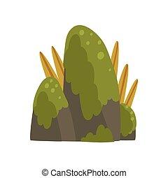 石, 山, 自然, イラスト, 要素, 森林, ベクトル, 緑, 岩, デザイン, 風景, こけ
