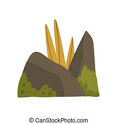 石, 山, 自然, イラスト, 要素, 草, 森林, ベクトル, デザイン, こけ, 岩, 風景
