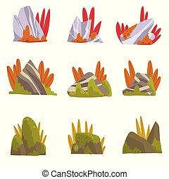石, 山, 自然, コレクション, 要素, 草, 森林, ベクトル, デザイン, イラスト, こけ, 岩, 風景
