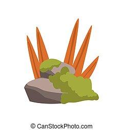 石, 山, 自然, 玉石, 要素, 草, 森林, ベクトル, デザイン, イラスト, 岩, 風景