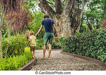 石, 歩くこと, reflexology., 舗装, 父, 玉石, 息子, reflexology, 舗装, textured, フィート, 小石