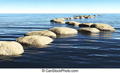 石, 水, 道