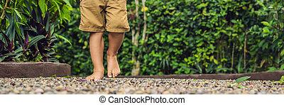 石, 男の子, 歩くこと, フォーマット, 舗装, reflexology., 玉石, 長い間, reflexology, 舗装, textured, フィート, 小石, 旗