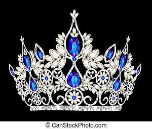 石, 青, ティアラ, 結婚式, 女性, 王冠