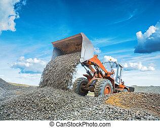 砂利, 古い, loadding, 積込み機, 掘削機, 車輪