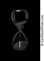 砂時計, 黒, 隔離された, 背景
