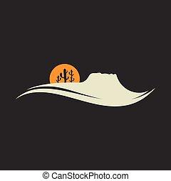 砂漠, テンプレート, ベクトル, 山