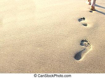 砂, 人間, 足跡