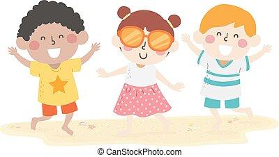 砂, 子供, はだしで, 浜, イラスト