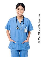 確信した, 医学の ユニフォーム, 女性の医者