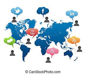社会, 媒体, ベクトル, 世界地図