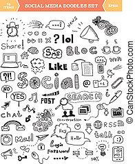 社会, 媒体, 要素, セット, いたずら書き