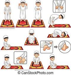 祈とう, muslim, 完了しなさい, 能力を発揮しなさい, ガイド, セット, 男の子, ポジション, ステップ
