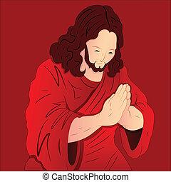 祈ること, キリスト, イラスト, イエス・キリスト