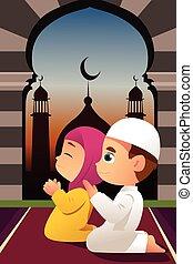 祈ること, モスク, 子供, muslim