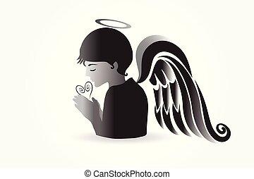 祈ること, ロゴ, ベクトル, 天使