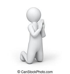 祈ること, 人間, 3d