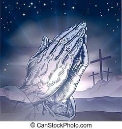 祈ること, 十字, イースター, 手