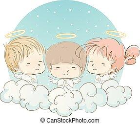 祈ること, 天使, イラスト, 子供