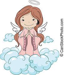 祈ること, 天使, 女の子