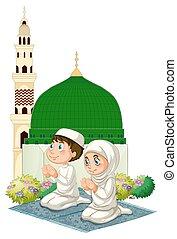 祈ること, 子供, モスク, 2, muslim