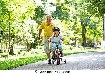 祖父, 子供, 楽しみ, 持ちなさい, 公園