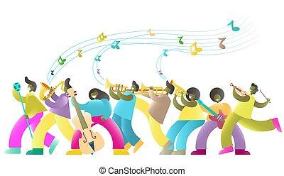 祝祭, ポスター, ジャズ, ベクトル, 音楽, テンプレート, 旗