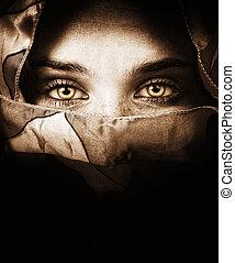 神秘的, 目, 女, sensual