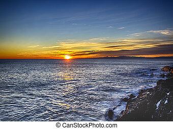 神経, 日没, 海岸