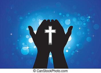神聖, 交差点, 手, 人, 祈ること, 崇拝, ∥あるいは∥