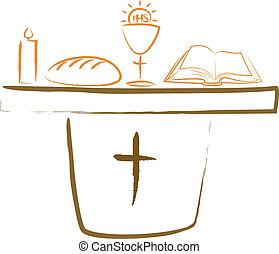 祭壇, religiou, -, 神聖, 聖餐