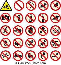 禁止された, いいえ, 一時停止標識