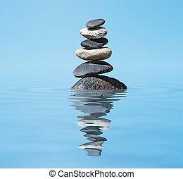 禅, -, 瞑想, 山, バランスをとられた, 背景, 反射, 石, 水