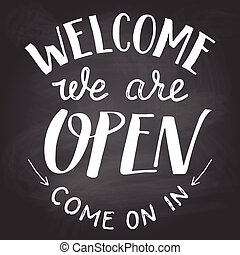私達, 黒板, 印, 歓迎, 開いた