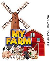 私, デザイン, 納屋, 壷, 農場, 単語, 動物