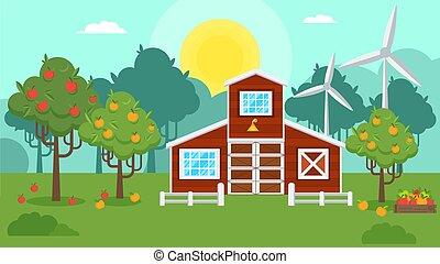 秋風景, 自然, リンゴ果樹園