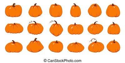 秋, オレンジ, 感謝祭, セット, カボチャ, ベクトル, 平ら
