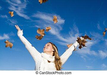 秋, 上げられた, 女, 腕, 幸福
