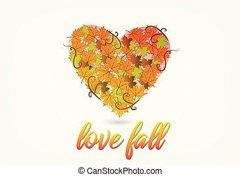 秋, 中心の 形, 愛, ロゴ