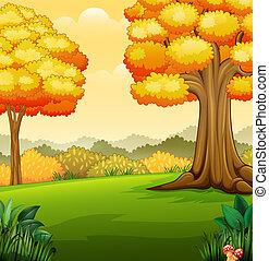 秋, 公園, 風景, 木